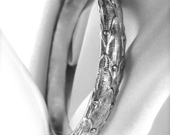Solid, Heavy Patterned with Patina Sterling Silver Bangle Bracelet - Custom Sizes and Options, Collectible and Stackable