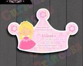 CUSTOM order 50 crown invitations, Princess Aurora in pink.