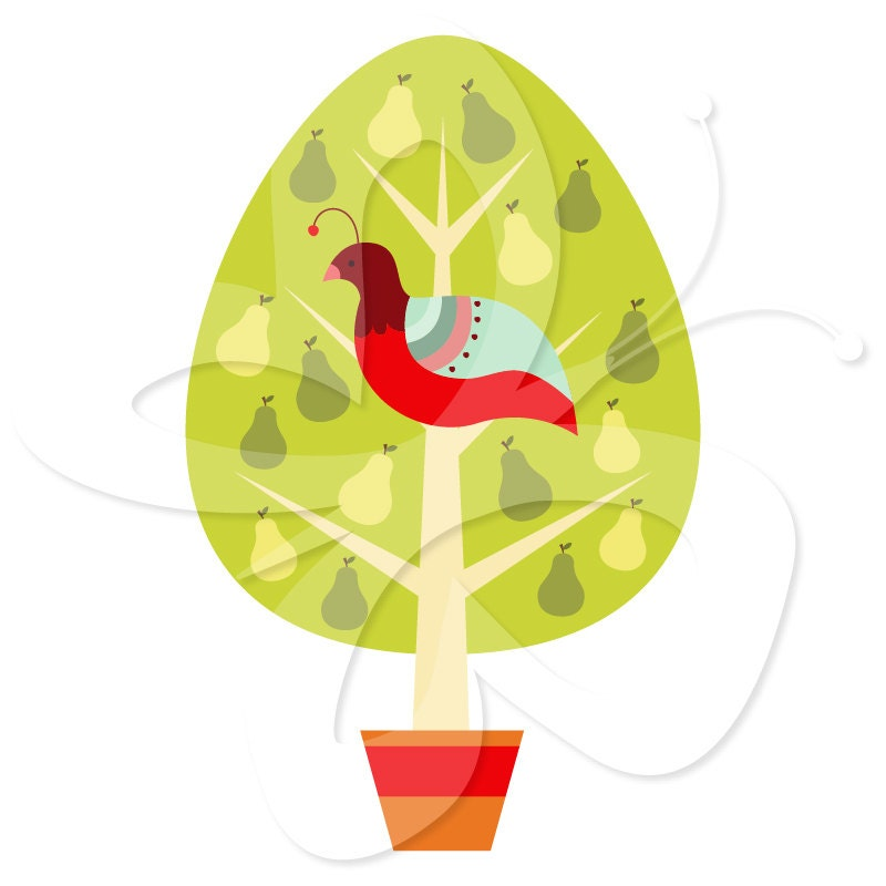 Partridge in a Pear Tree Clip Art Clipart by ...