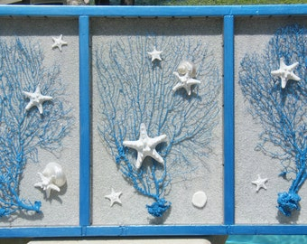 Revived Printer's Drawer with coastal theme - Seafans, Knobby Starfish, Sand, and Sand Dollars Wall Hanging