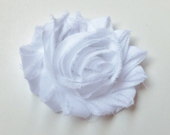 small white flower girl hair clip shabby chiffon bow -- mini wedding bridal hair accessories for babies and toddler--small 2 inches