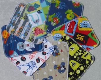 Set of 20 boys pattern prints, reusable cloth napkins, baby wipes, lunch napkins, non paper napkins, eco friendly