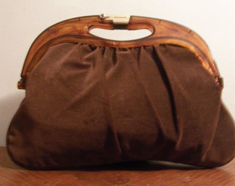 Brown Velour Cloth Purse with Lucite Handles and Goldtone Latch