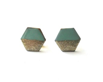 Tiny Mint Gold Hexagon Stud Earrings - Cute Minimalist Jewelry