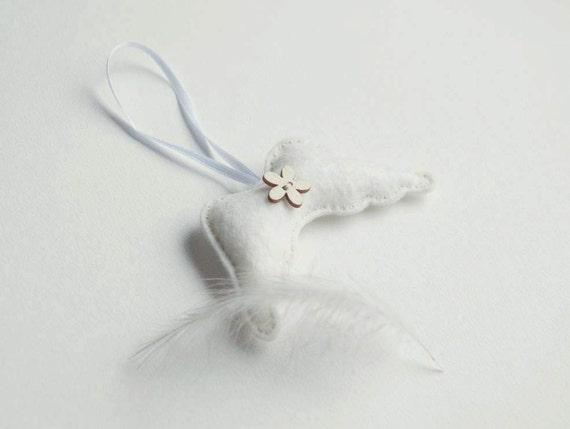 Ivory white felt angel wings ornament