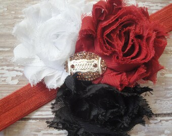 Shabby Chic Crimson Red, White & Black Bling OU Sooner Football (or Any Team Colors) Chiffon Flowers on Stretch Elastic Headband-fit any age