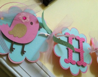Birdie Banner, Birdie Birthday Banner, Birdie Party, Birdie Birthday, Bird Birthday, Bird Themed Happy Birthday Banner Made to Order