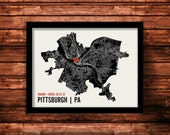 Pittsburgh Wedding Map Art | Pittsburgh Wedding Gift | Pittsburgh Art Print | Pittsburgh Poster | Pittsburgh Map