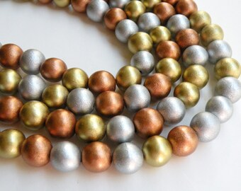 Metallic gold silver copper wood beads round eco-friendly Cheesewood 12mm full strand 9704NB