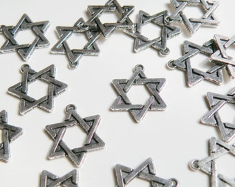 10 Star of David charms antique silver 6 pointed star hexagram 22x18mm PA19010