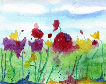 wild flowers watercolour painting
