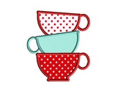 Teacup Stack Machine Embroidery Applique Design-INSTANT DOWNLOAD