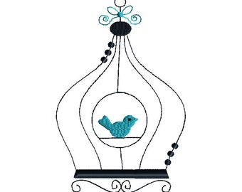 Bird Cage Embroidery Design for Machine Embroidery-INSTANT DOWNLOAD