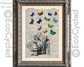 Alice in Wonderland with Butterflies 1 Small Door into Wonderland on Vintage Upcycled Dictionary Art Print Book Art Print Recycled