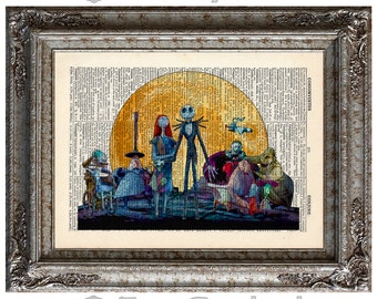 Nightmare Before Christmas 5 Characters Jack Skellington and Sally on Vintage Upcycled Dictionary Art Print Book Art Print Sandy Claws