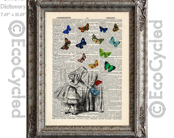 Alice in Wonderland with Butterflies 1 Small Door into Wonderland on Vintage Upcycled Dictionary Art Print Book Art Print Recycled Classic
