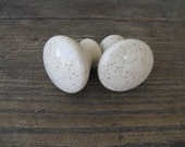porcelain knobs set of 2 speckled finish cream screws included one inch tall 1 3/8 inches wide country rustic
