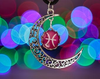 Pisces Zodiac Moon Necklace