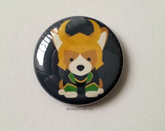 Loki Corgi Pin Back Button