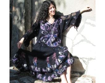 Felt Dress,Felt Twin-Set,Woman Gift,Wool Felt Wrap Skirt and a Blouse,Wool Blouse,Wool Tunic,Art Deco Blouse,Nuno Felt Poncho,Black Dress