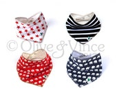 REDUCED - Bandana bibs baby toddler dribble bib set stripy bandanas stars blue red black white four organic cotton bamboo stripes pirate