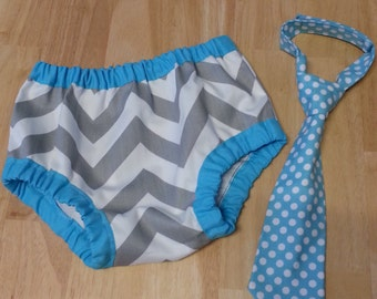 cake smash outfit tie and diaper cover set, first birthday diaper cover and tie set gray chevron and aqua