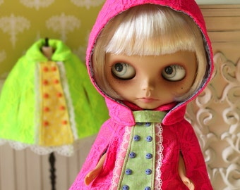 Anniedollz Blythe Outfits Lace Hooded Cape - Fluorescent Pink