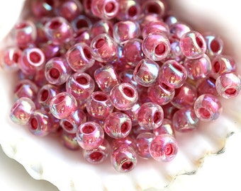 Pink TOHO Seed beads, size 6/0, Inside-Color Rainbow Crystal/Strawberry Lined N 771, japanese seed beads, round, glass beads - 10g - S288
