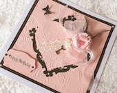 Large Birthday Card Anniversary Card Pink and Black Embossed with flower Boxed