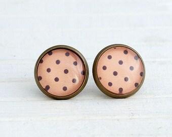 Peach Polka Dot Earrings .. peach studs, spotty earrings, coral, small studs