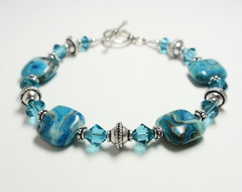 Blue Crazy Lace Bracelet - Handmade Beaded Blue Crazy Lace Bracelet