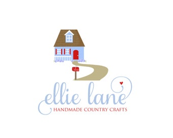 Custom Logo Premade Logo Design and Watermark for Photographers and Small Business Owners Country Cottage with Path and Flowers