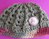 Crochet baby beanie in olive green with vintage button