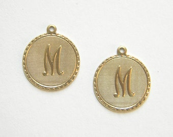 Raw Brass Letter M Charm Monogram Initial Drop 20m x 22mm - 4 pcs. (r268)