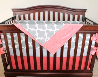 Gray Fynn, Coral, and Coral Ruffle Crib Bedding Ensemble