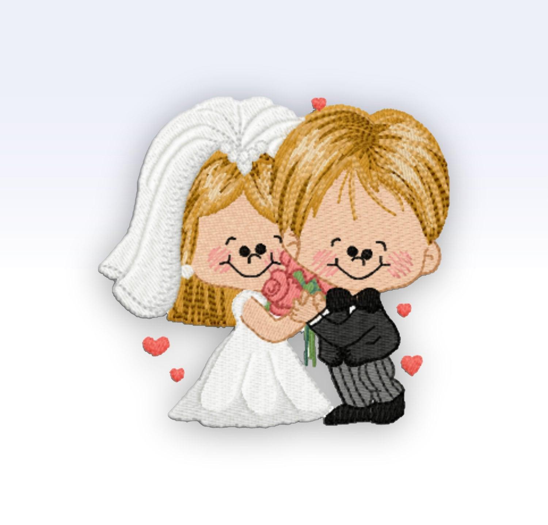 Wedding machine embroidery design couple