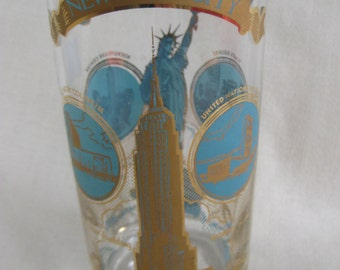 Vintage Blue and Gold NYC Glass