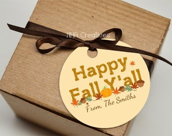 Personalized Happy Fall Y'all Favor Tag - Personalized DIY Printable Digital File