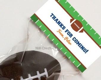 Personalized Football Treat Bag Topper - DIY Printable Digital File