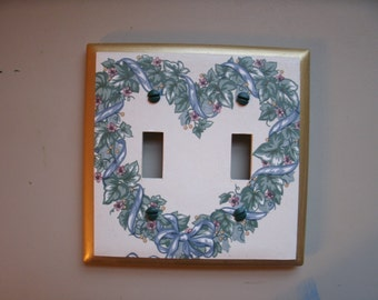 Light Switch Plate with Heart Picture for 2 Toggles