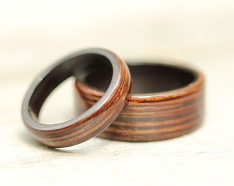 Wenge Bentwood Ring Set - Wenge featuring Grenadilla Liner - And We Plant A Tree:)