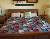 Rustic King Size Patchwork Rag Quilt - Made to Order, Handmade-Homemade, Rustic Home Decor, Patchwork Quilt, Primitive Quilt, Western Quilt,