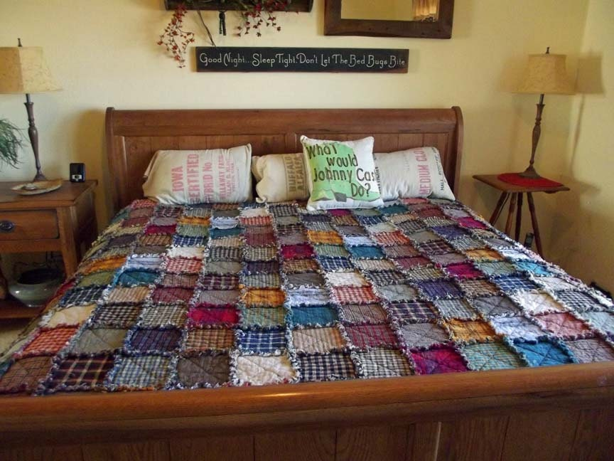 King Patchwork Rag Quilt Made to Order Rustic Reversible