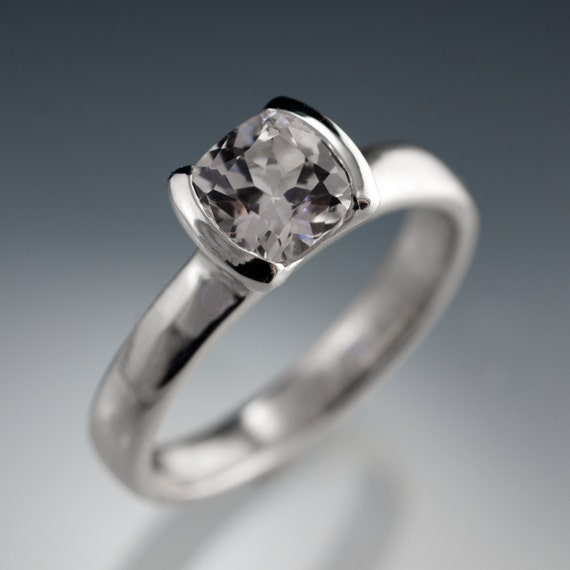 Cushion White Lab Sapphire Half Bezel Solitaire Engagement Ring in Sterling Silver, Palladium or 14k Gold