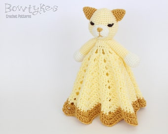 Kitty Cat Lovey CROCHET PATTERN instant download - blankey, blankie, security blanket