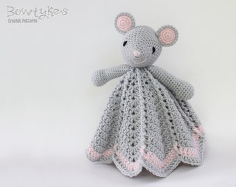 Wee Mouse Lovey CROCHET PATTERN instant download - blankey, blankie, security blanket