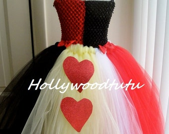 Queen of hearts inspired toddler tutu dress costume comes with sparkle crown.