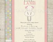 Lamb Baby Shower Invitations Little Lamb Vintage Shabby Chic Little Lamb Printable Pink Bow Blue Yellow Gray Grey - Baby Shower L3