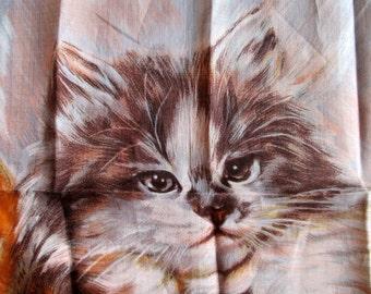 Vintage Hankie Hanky 1965 A. Skandia Robinson Golluber Persian Cat Kitten Handkerchief Never Used vintage textiles MoonlightMartini