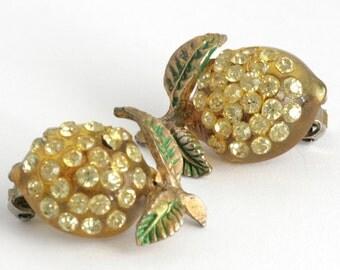 Yummy Lemon Forbidden Fruit Lucite Rhinestone Clip On Earrings // Vintage Jewelry